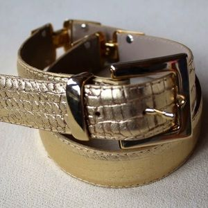 CACHÉ Gold Leather Belt with Heavy Gold Buckle